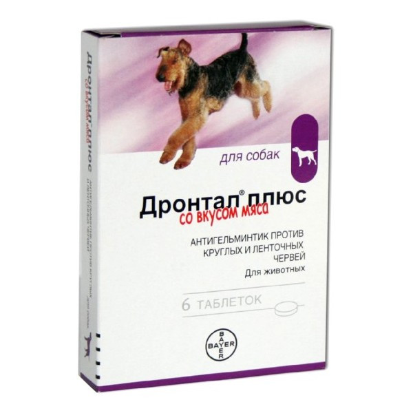 Дронтал плюс для собак 6 таб. уп. ангельминтик широкого спектра действия