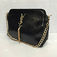 Женская сумка клатч YSL (Yves Saint Laurent) 724 черная из лаковой искусственной кожи на цепочке