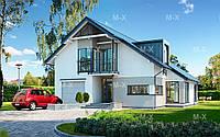 MS126. Современный дом с мансардой и асимметричной кровлей, фото 1