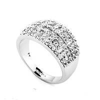 Кольцо ГРЕЦИЯ SHINE SILVER ювелирная бижутерия родий декор кристаллы Swarovski