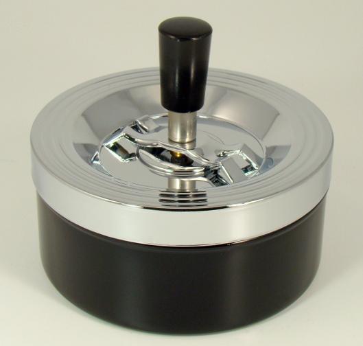 Пепельница 40012 хром/черный, металл, 12 см