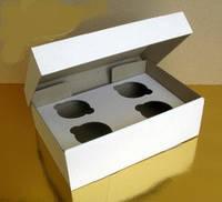 Коробка для капкейков белая, на 4 шт, микрогофрокартон