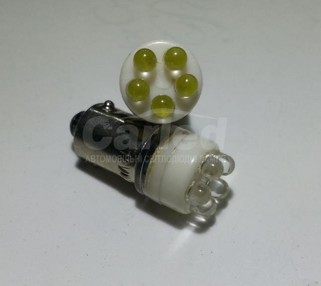 Светодиодная автолампа BA9S, 5pcs LED(3mm) белого цвета свечения (~18-25Lm)