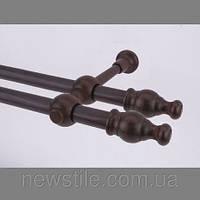 Карниз деревянный Прато двойной коричневый 25/25мм/160СМ