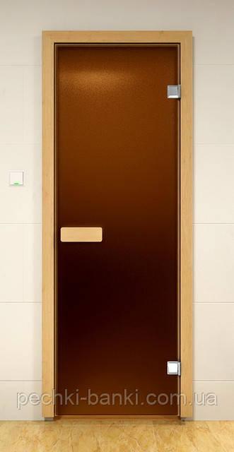 Стеклянные двери для сауны 80х190 бронза матовая (Украина)