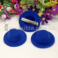 Основа для заколки - шляпка 5,5 см, синий, фото 1