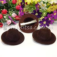 Основа для заколки - шляпка 5,5 см, коричневый