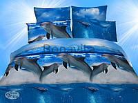 Постельное белье  3д двухспалка дельфины