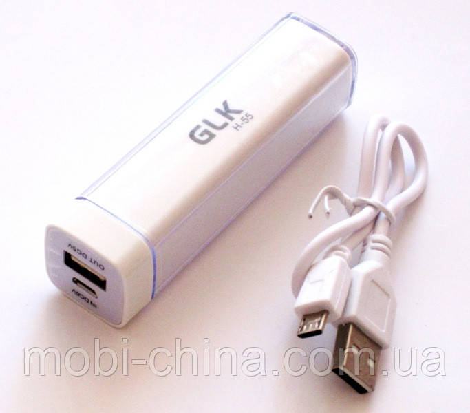 Универсальная  батарея    mobile power bank  2600 mAh, GLK-H55, white