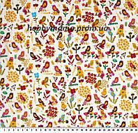 Птицы в саду - кремовый, желтый, красный. Хлопковая ткань. FA-15