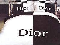 Сатиновое постельное белье черно-белое Диор