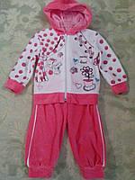 Велюровый коралловый костюм для девочки, р-р 62