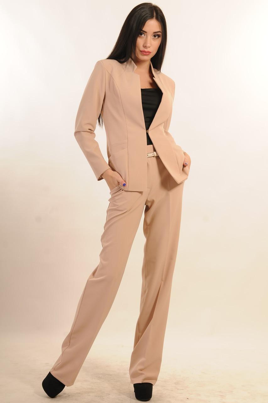Стильный костюм-двойка, пиджак прямого силуэта с воротником-стойкой, брюки со стрелкой, 42-52 размер, фото 1