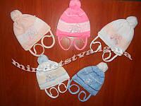 Шапки для новорожденных на хб подкладке оптом р.40-42см цвета только на девочку