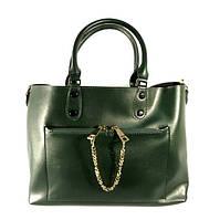 Кожаная женская сумка, саквояж 2 в 1 с клатчем Voee Vodd 60694 зеленая