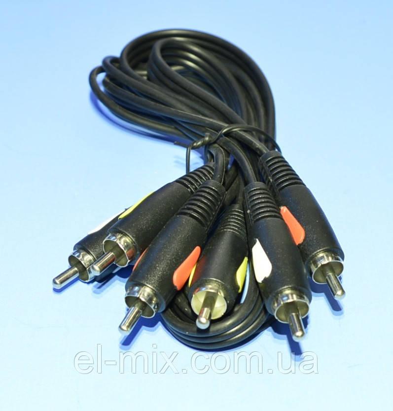 Шнур 3шт.RCA - 3шт.RCA Cabletech Eco-Line 1.0м  KPO4002-1.0