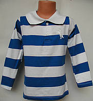 Батник с воротником для мальчика от 5 до 8 лет голубой с белым