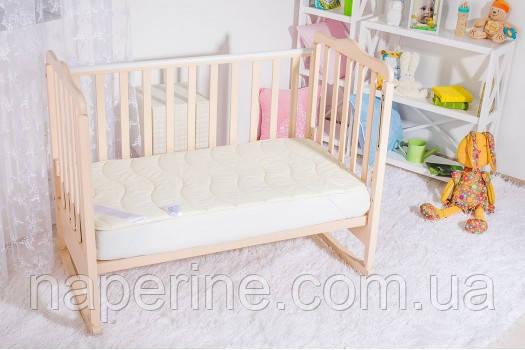 Наматрасник стеганый детский ИДЕЯ 60*120 в кроватку кремовый