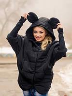 Курточка женская стеганая черная с ушками 8333, фото 1