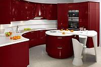 Стильная радиусная кухня с островом, фото 1