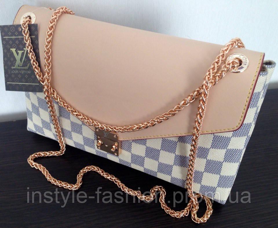 144257723bde Сумка клатч Louis Vuitton Луи Виттон на цепочке цвет белый: купить ...