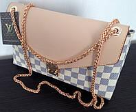 Сумка клатч Louis Vuitton Луи Виттон на цепочке цвет белый, фото 1