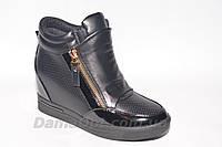 Черные лаковые женские спортивные ботинки