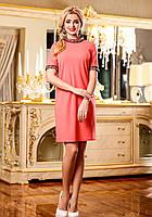 Элегантное Платье Прямого Фасона с Камнями Персиковое L-3XL