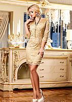 Нежное Облегающее Гипюровое Платье Кофейное M-XXL