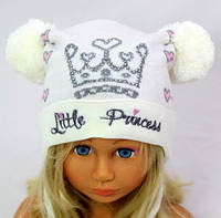 Шапка вязаная детская Принцесса.р.44-48.(1-3г).