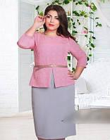 Элегантное батальное платье с поясом (в расцветках)
