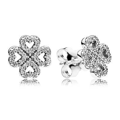 Серьги-пусеты из серебра 925 пробы «Лепестки любви»