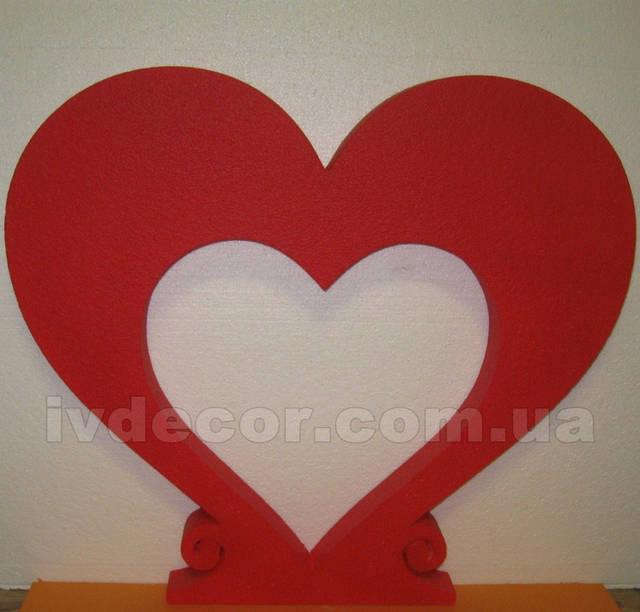 Сердце из пенопласта EPS М35 c покраской (№6 из каталога сердец) .Размеры - 50*56*5 см.