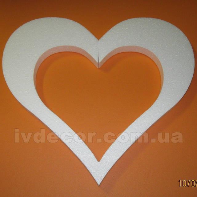 Сердце из пенопласта EPS М35 (изготовлено по макету заказчика) без покраски.Размеры - 44*50*3 см.