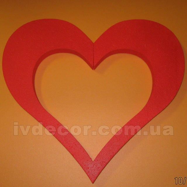 Сердце из пенопласта EPS М35 c покраской (изготовлено по макету заказчика) .Размеры - 44*50*3 см.