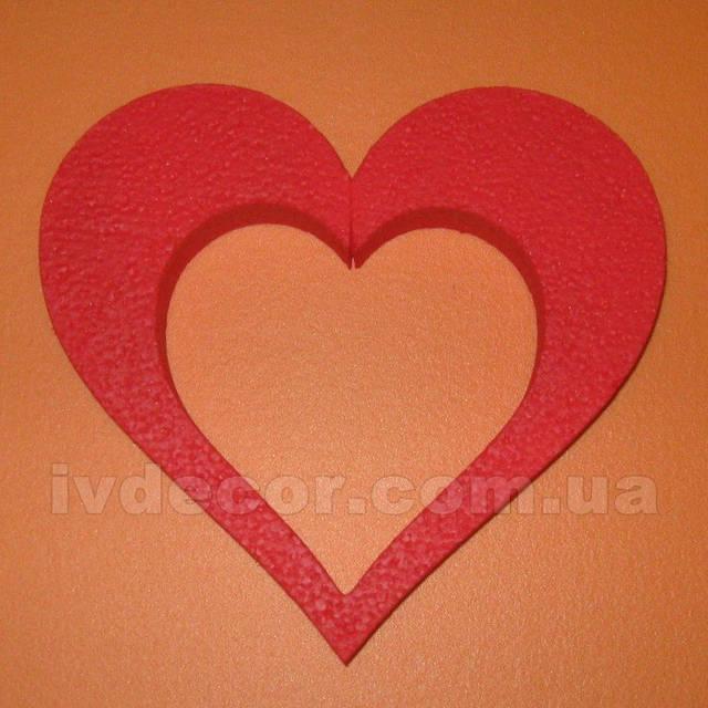 Сердце из пенопласта EPS М35 c покраской (№8 из каталога сердец) .Размеры - 20*22*3 см.