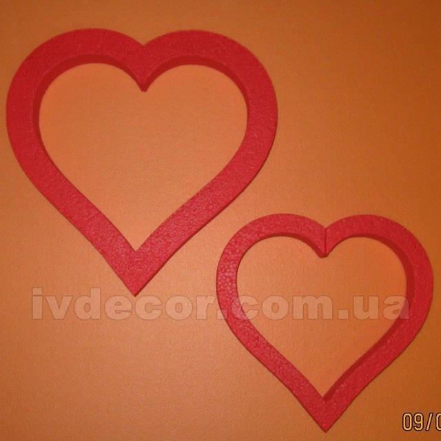Сердце из пенопласта EPS М35 c покраской (№9 из каталога сердец) .Размеры - 25*3 и 20*3 см.