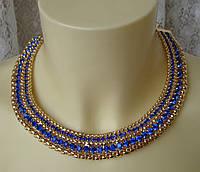 Колье женское ожерелье модное яркое украшение металл ювелирная бижутерия 5573