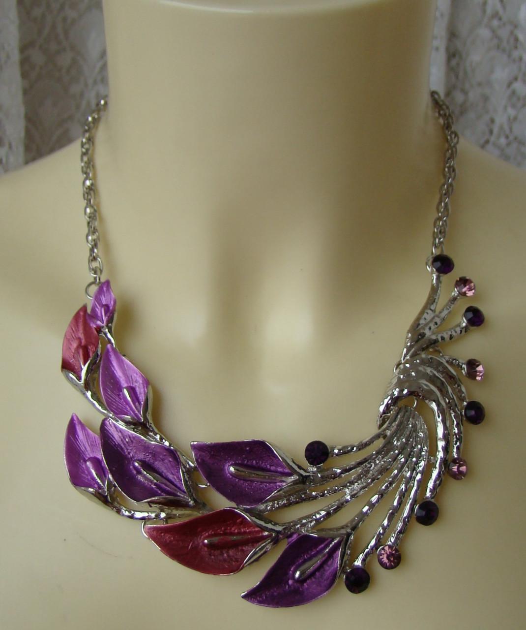 Колье женское райская птица украшение металл ювелирная бижутерия 5574, фото 1