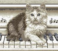 """Вишивка бісером """"Кіт на піаніно"""" 38.5х44"""