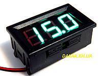 Цифровой врезной автомобильный вольтметр зелёный 12В maxi, фото 1