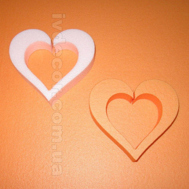 Сердце из экструдированного пенополистирола XPS (№8 из каталога сердец) без покраски.Размеры - 10*2 см.