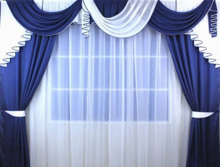 """Комплект штор """"Флоренция""""+лабрекен+тюль( Цвет синий), фото 2"""
