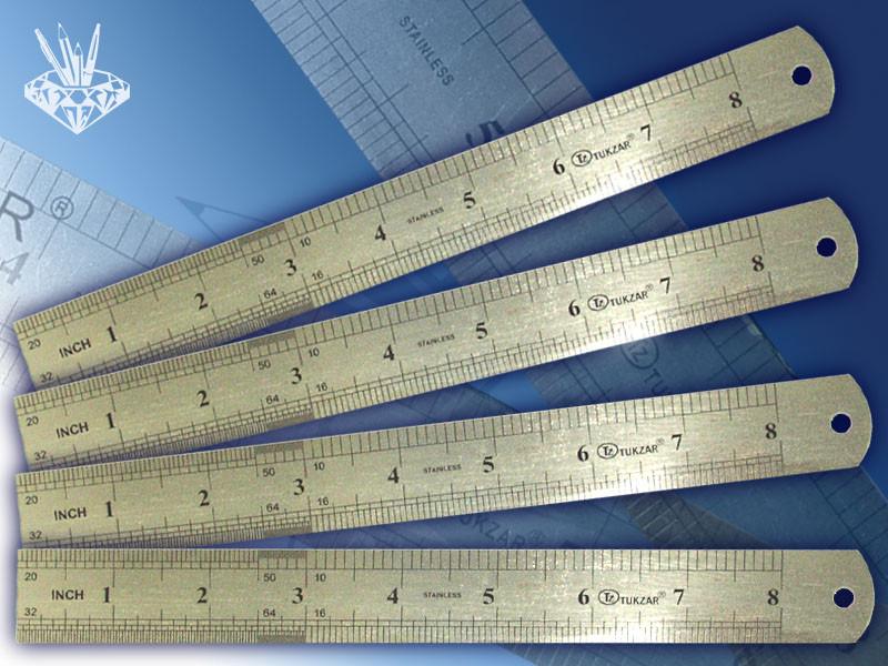 Линейка двухсторонняя металлическая 20 см, двойная шкала.