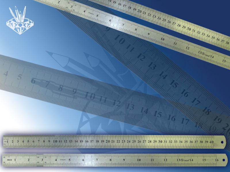 Линейка двухсторонняя металлическая 40 см, двойная шкала.  Линейка двухсторонняя металлическая 40 см, двойная