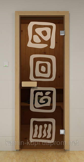 Стеклянная дверь для сауны ЛЕД ALDO 690х1890 мм, фото 1