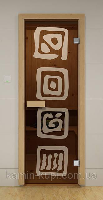 Стеклянная дверь для бани ЛЕД ALDO 790х1990 мм, фото 1