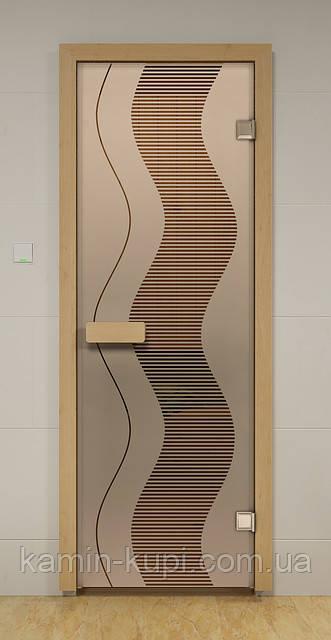 Стеклянная дверь для сауны и бани МУАРА ALDO 790х1990 мм, фото 1