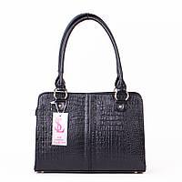 Сумка деловая женская портфель черный крокодил