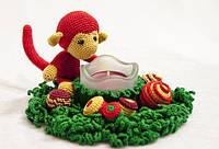 Новогодний подсвечник с обезьянкой